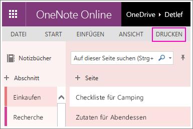 """Screenshot der Schaltfläche """"Drucken"""" in OneNote Online"""