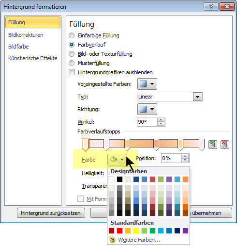 Bei einem Farbschema mit benutzerdefiniertem Farbverlauf wählen Sie den ersten Farbverlaufstopp aus, und öffnen Sie die Farboptionen.