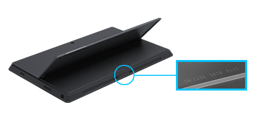 Shows the serial number for the Surface Pro on the bottom edge, under the kickstand.