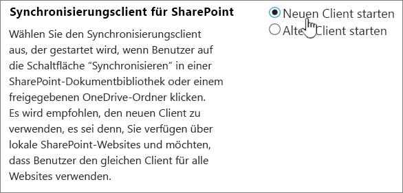 Administratoreinstellung für den OneDrive-Synchronisierungsclient