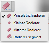 Auf dem Mac verfügt PowerPoint für Office 365 über vier Radierer für die digitale Freihandeingabe.