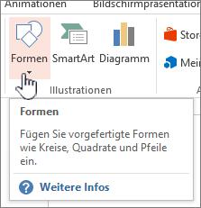 """PowerPoint-Schaltfläche """"Formen einfügen"""""""