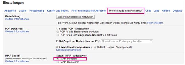 """Wählen Sie in Gmail """"Weiterleitung und POP/IMAP"""" aus, um Ihre POP-Einstellungen auszuwählen."""