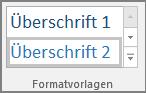 """Screenshot der Auswahl eines Überschriftenformats im Menü """"Start""""."""
