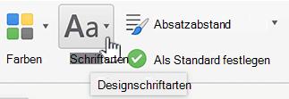 Schaltfläche ' Entwurf Registerkarte Schriftarten '