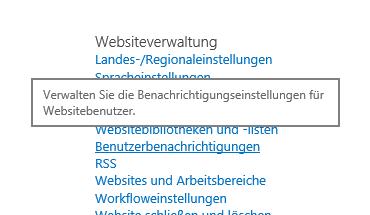 Websiteverwaltung – Websiteeinstellungen – Link für Benutzerbenachrichtigung