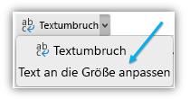 """Screenshot mit der Schaltfläche """"Text an Zellgröße anpassen"""" im Menüband."""