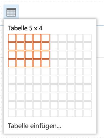Hinzufügen einer einfachen Tabelle in Outlook im Web.