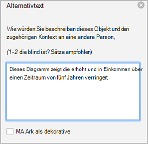 Bereich Alternativtext in Word