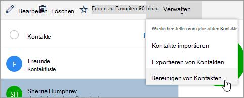 "Screenshot der Option ""Kontakte beReinigen"" im Menü ""verwalten"""