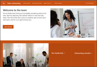 Abbildung der Vorlage für die neue Mitarbeiter-Onboarding-Website