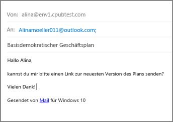 """Füllen Sie """"Betreff"""" aus, geben Sie den Text der E-Mail ein, und klicken Sie auf """"Senden""""."""