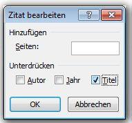 Klicken Sie auf das Kontrollkästchen 'Titel' und dann auf 'OK'.