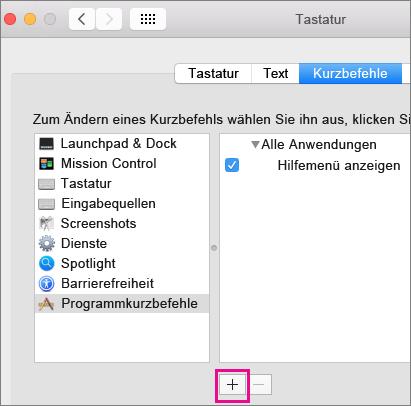 Benutzerdefinierte Tastenkombination in Office 2016 für Mac