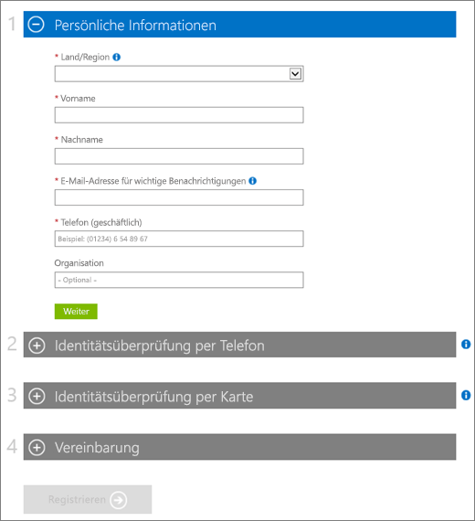 """Screenshot der vier Abschnitte des Formulars für das Azure-Abonnement. Der Abschnitt """"Info"""" wird erweitert und die Abschnitte """"Identitätsüberprüfung per Telefon"""", """"Identitätsüberprüfung per Karte"""" und """"Vertrag"""" werden reduziert."""