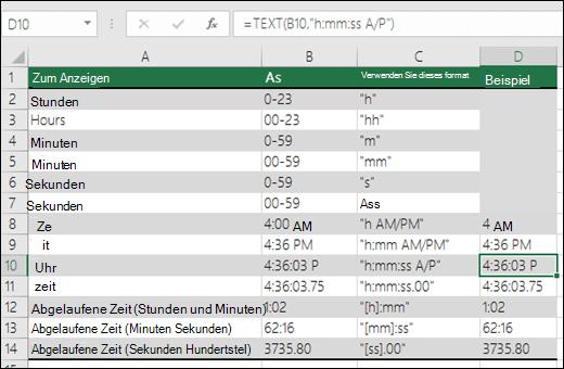 Beispiele für die Formatierung von Stunden, Minuten und Sekunden mit der TEXT-Funktion