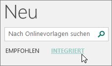 Screenshot der Kategorien von integrierten Vorlagen in Publisher.