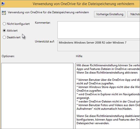 """Einstellung """"Verwendung von OneDrive verhindern"""""""