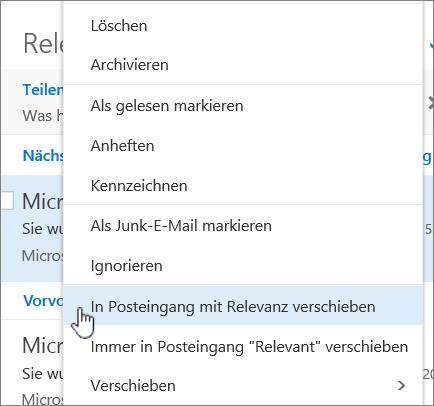 """Screenshot des Posteingangs, """"Filter"""" > """"Posteingang mit Relevanz anzeigen"""" ausgewählt"""