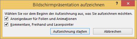 """Zeigt das Dialogfeld """"Bildschirmpräsentation aufzeichnen"""" in PowerPoint."""