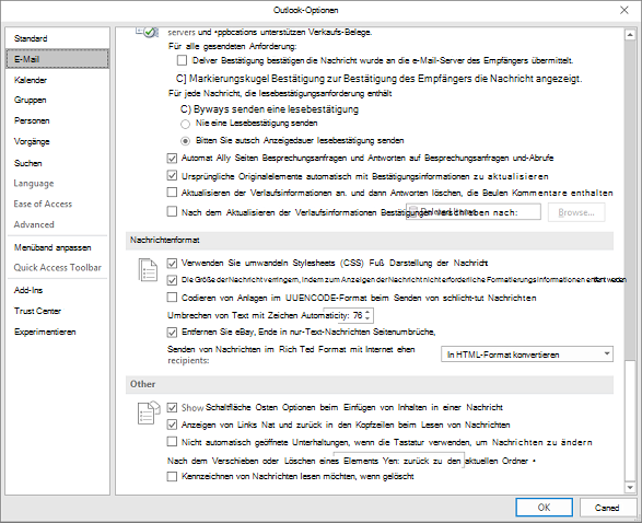 Outlook-Optionsseite mit hervorgehobener e-Mail-Kategorie
