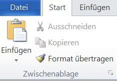 Gruppe 'Zwischenablage' auf der Registerkarte 'Start' in Word