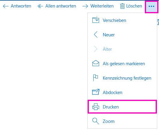 Drucken einer E-Mail-Nachricht in Mail für Windows 10