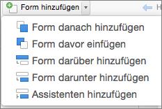 """Organigramm, """"Form hinzufügen"""""""