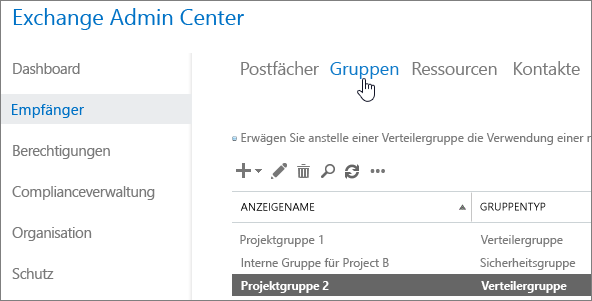 Suchen nach Gruppen in Exchange Admin Center