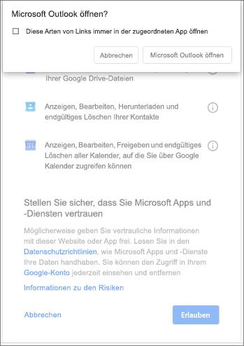 Öffnen von Outlook