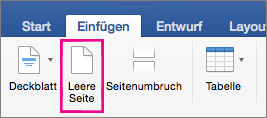 """Auf der Registerkarte """"Einfügen"""" ist """"Leere Seite"""" hervorgehoben"""