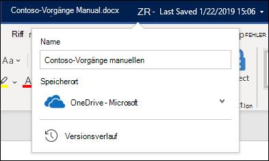 Das vom Dokumenttitel ausgehende Dropdownmenü in Word für Office 365