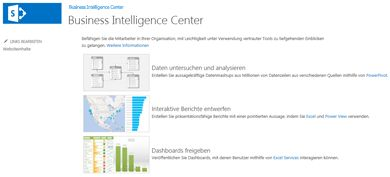 Homepage der Business Intelligence Center-Website