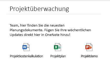 Eingebettete Dateien auf einer Seite in OneNote für Windows 10