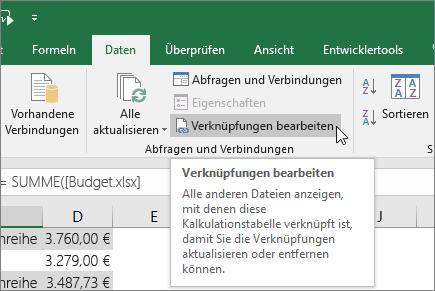 Löschen Einer Verknüpfung Zu Einem Externen Bezug In Excel
