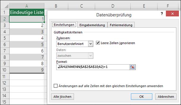 Beispiel 4: Formeln in der Datenüberprüfung