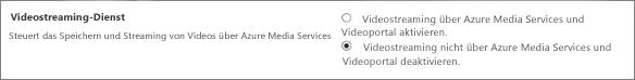 Deaktivieren Sie die Einstellung für Office365 Video im SharePoint Online Admin Center