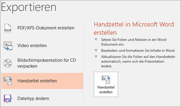 """Bildschirmausschnitt der PowerPoint-Benutzeroberfläche mit """"Datei"""" > """"Exportieren"""" > """"Handzettel erstellen"""""""