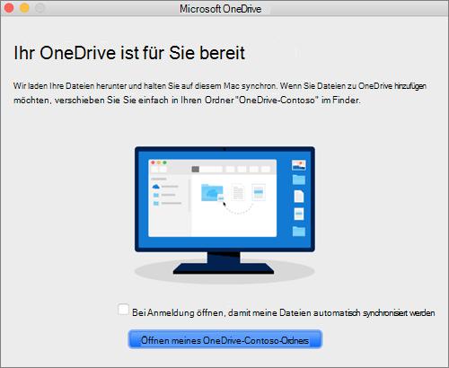 """Screenshot des letzten Bildschirms im Assistenten """"Willkommen bei OneDrive"""" auf einem Mac"""