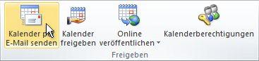 Befehl 'Kalender per E-Mail senden' im Menüband