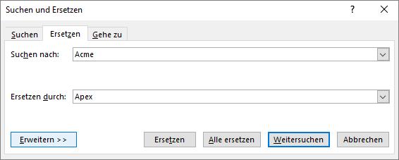 "Outlook-Dialogfeld ""Suchen und Ersetzen""."