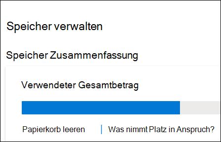 """OneDrive-Fester """"Speicher verwalten"""" mit Anzeige des gesamten belegten Speicherplatzes, des Papierkorbs und der Option zum Anzeigen großer Dateien und Fotos."""