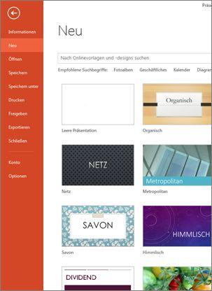 Die Seite 'Neu' auf der Registerkarte 'Datei'