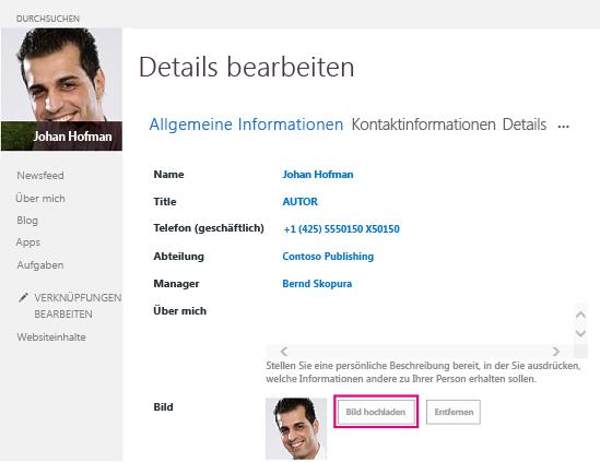 """Screenshot des SharePoint-Fensters """"Bild ändern"""" mit hervorgehobener Schaltfläche """"Bild hochladen"""""""