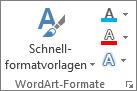 """Gruppe """"WordArt-Formatvorlagen"""" nur mit Symbolen"""