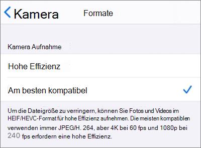 """Formateinstellungen für iOS-Kameraerfassung, festgelegt auf """"Maximale Kompatibilität"""""""