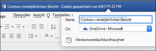 """Das Dialogfeld """"Dateivorgänge"""" wird gestartet, indem Sie auf die Titelleiste eines Word-Dokuments klicken."""