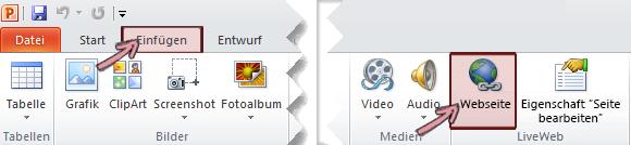 Das LiveWeb-add-in wird Klicken Sie auf der Registerkarte ' Einfügen ' im Menüband am äußersten rechten Ende gefunden