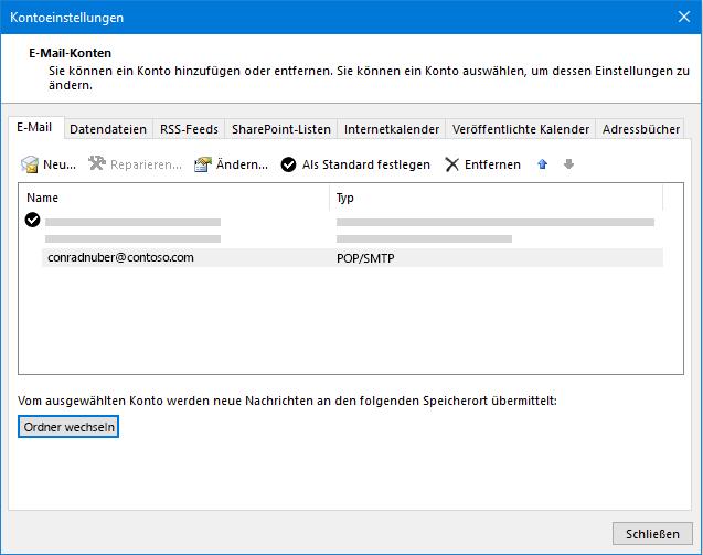 Outlook-Kontoeinstellungen (Dialogfeld)