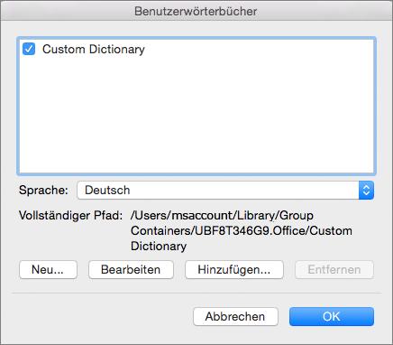 """Im Dialogfeld """"Benutzerwörterbücher"""" können Sie Benutzerwörterbücher hinzufügen, bearbeiten und auswählen, die die Rechtschreibprüfung verwenden soll."""
